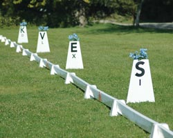Pyramid dressage arena long rail with Tower Letters